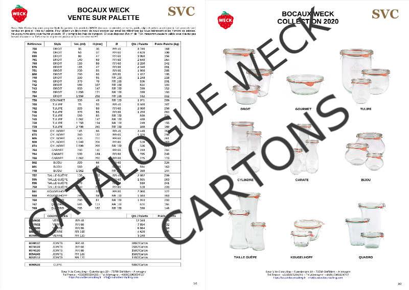 Sous Vide Consulting Grossiste bocaux WECK catalogue CARTONS