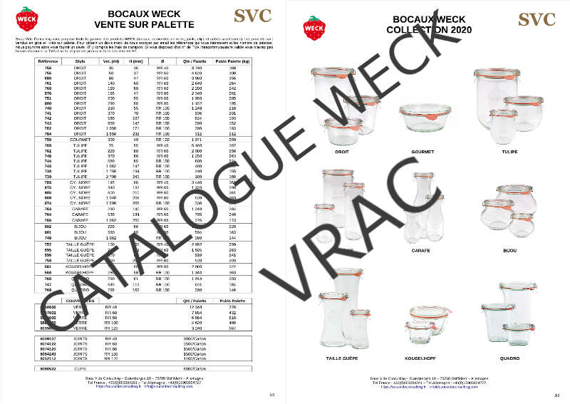 Sous Vide Consulting Grossiste bocaux WECK catalogue VRAC