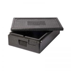 Thermobox GN 1/1 avec hauteur intérieure de 117 mm et volume de 21 Litres. Vue avec couvercle ouvert.