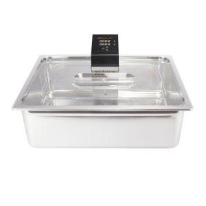 Bac Gn 2/1 Inox de 58 Litres avec couvercle polycarbonate et découpe pour thermoplongeur SWID ou SWID Premium. Matériel indispensable pour les cuissons sous vide de nuit.