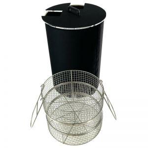 Pasteurisateur de bocaux WECK (et autres) de 100 litres vendu avec une housse isolante, un couvercle et 5 paniers style autoclave.